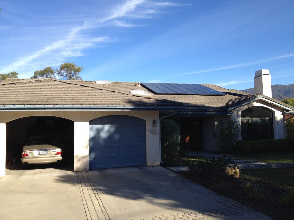 A solar array installation in Goleta, California paid for with a SunPower loan.