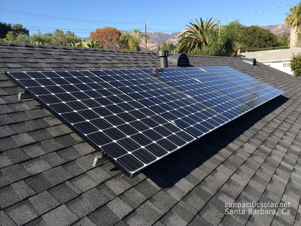 A SunPower panel array on a comp shingle roof in Santa Barbara.