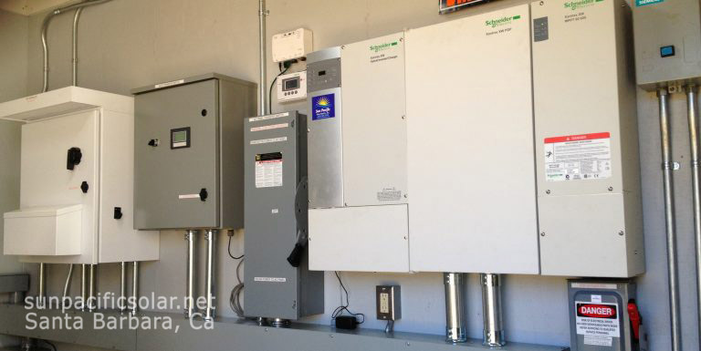 The electrical equipment for a solar water pumping station.