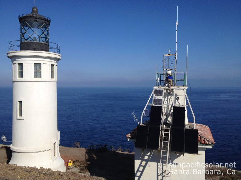 An off-grid system on Anacapa Island powering an emergency relay communication system for Ventura County and light for the lighthouse for the National Park Service. The system is mounted on the side of the building due to historical preservation limitations.