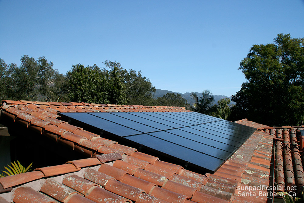 An all black SunPower array on a tile roof in Montecito, California.
