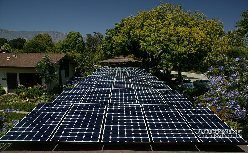 A grid-tied solar installation on a covered walkway for a retirement home in Santa Barbara.