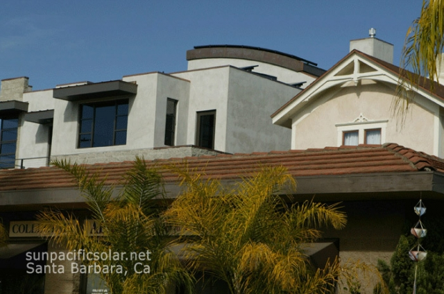 Custom solar installation on a curved roof in Santa Barbara.