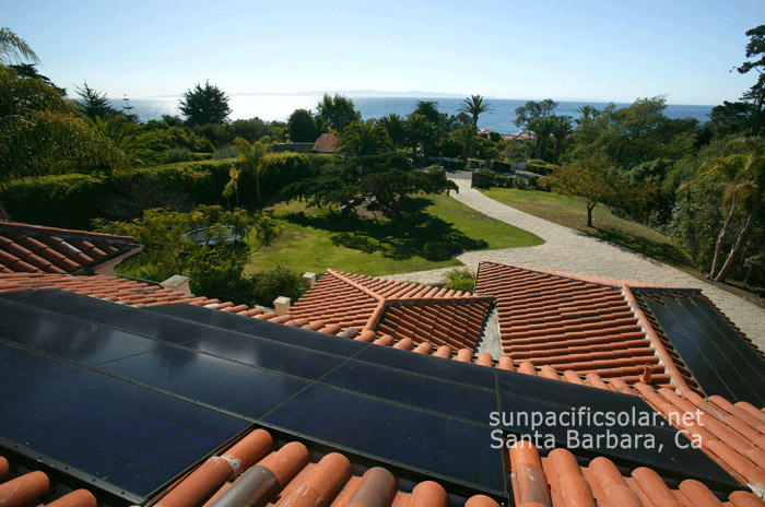 SunPower all black solar panel array in Hope Ranch.