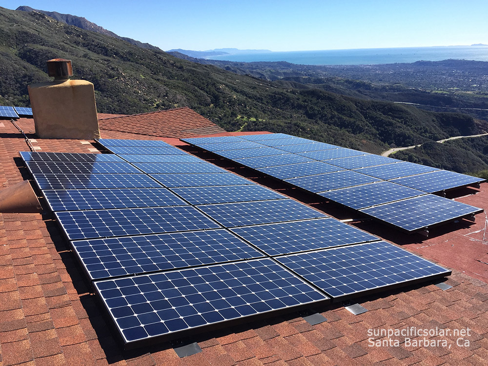 36 240W SunPower panel grid-tied residential installation in the foothills of Santa Barbara.