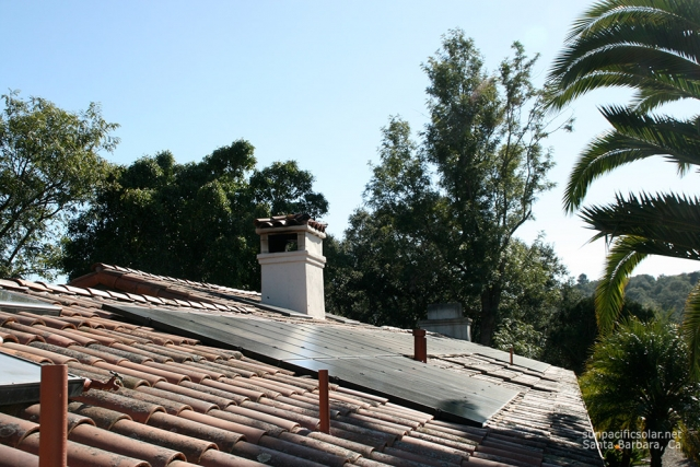A solar array on a tile roof in Montecito, California.