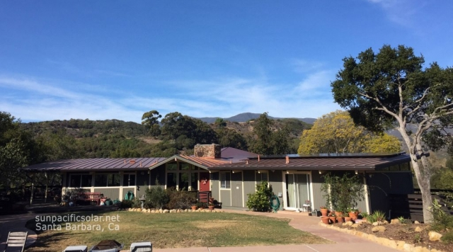 A 6.7kW SunPower installation on a standing seam metal roof in Goleta, California.