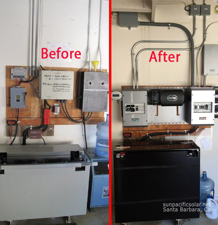 Before and after of off-grid power system in Hollister Ranch, California.