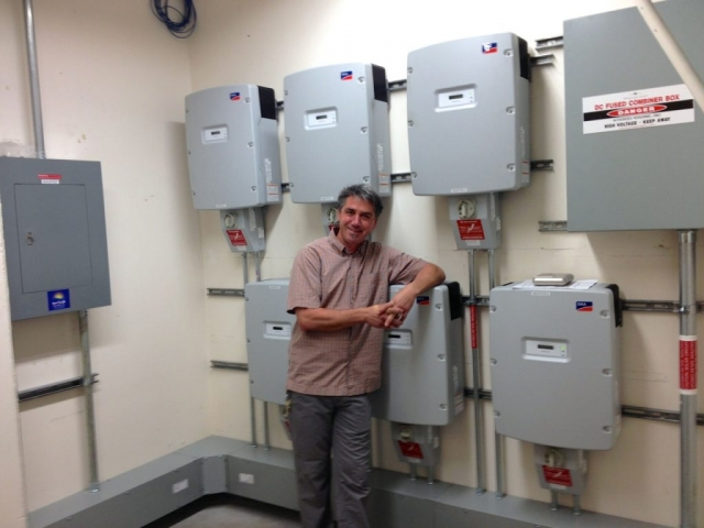 Sun Pacific Solar local electrical contractors. Inverter installation at local college in Santa Barbara. Commercial, residential, agricultural. Solar Energy, Solar Power, Solar Panels, Solar Electric, Photovoltaic, Renewable Energy, Clean Energy, Green Energy, Solar Installation, Sustainable Energy, Sustainability, Alternative Energy, Energy, Energy Management, Energy Conservation, Solar PV, Sustainable Development, Solar Thermal, Energy Efficiency, Wind, Green Building, Clean Technology, Clean Tech, Energy Audits, Cleantech, Custom installations, comp roof solar installations, tile roof solar installations, flat roof solar installations, flat membrane roof solar installations, solar panel installations, standing seam metal roof solar installations, inverters, battery backup, pole mount solar installations, well pumps, ground mount solar installations, grid-tied solar, off-grid solar, grid tied solar, off grid solar, agricultural pumping, Hollister Ranch, Pismo Beach Santa Barbara, Ojai, Hope Ranch, San Luis Obispo, Ventura, Santa Ynez, Gaviota, Goleta, Montecito, Santa Barbara County, Tri-County area, Tri-County, Southern California, Carpinteria, Summerland, Buellton, Padaro Lane, Santa Maria, Lompoc
