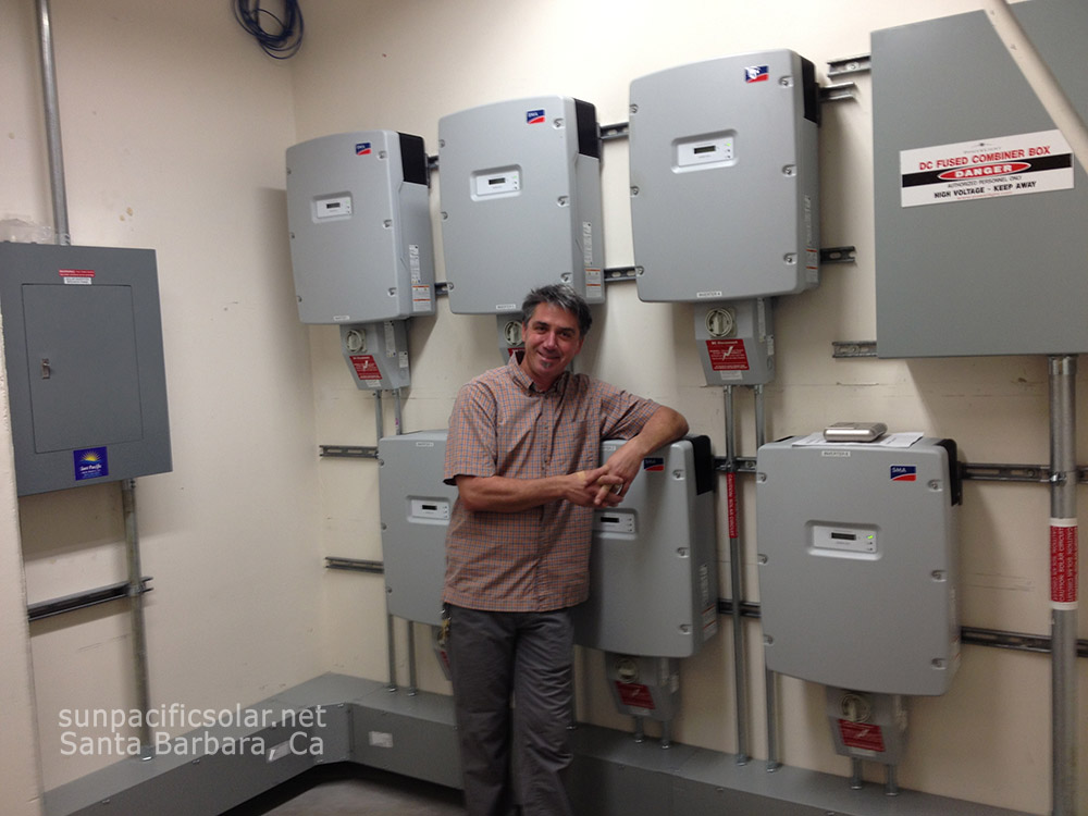 6 SMA inverters in Bren Hall at the University of California at Santa Barbara.
