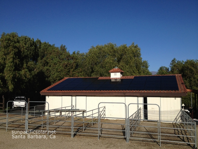 14kW all black SunPower panels on a tile roof in Ojai.