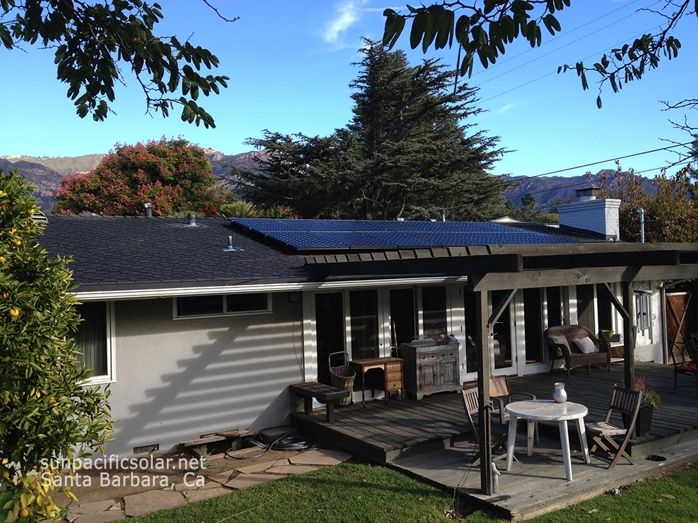 A grid-tied SunPower panel system on a comp shingle roof in Santa Barbara.