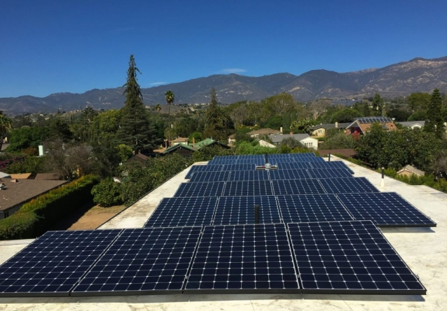 Sun Pacific Solar electric local solar contractor array on flat Santa Barbara roof. Commercial, agricultural, residential. Solar Energy, Solar Power, Solar Panels, Solar Electric, Photovoltaic, Renewable Energy, Clean Energy, Green Energy, Solar Installation, Sustainable Energy, Sustainability, Alternative Energy, Energy, Energy Management, Energy Conservation, Solar PV, Sustainable Development, Solar Thermal, Energy Efficiency, Wind, Green Building, Clean Technology, Clean Tech, Energy Audits, Cleantech, Custom installations, comp roof solar installations, tile roof solar installations, flat roof solar installations, flat membrane roof solar installations, solar panel installations, standing seam metal roof solar installations, inverters, battery backup, pole mount solar installations, well pumps, ground mount solar installations, grid-tied solar, off-grid solar, grid tied solar, off grid solar, agricultural pumping, Hollister Ranch, Pismo Beach Santa Barbara, Ojai, Hope Ranch, San Luis Obispo, Ventura, Santa Ynez, Gaviota, Goleta, Montecito, Santa Barbara County, Tri-County area, Tri-County, Southern California, Carpinteria, Summerland, Buellton, Padaro Lane, Santa Maria, Lompoc
