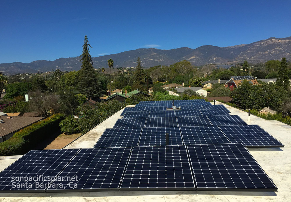 SunPower 345 Watt panels on a flat membrane roof in Santa Barbara.