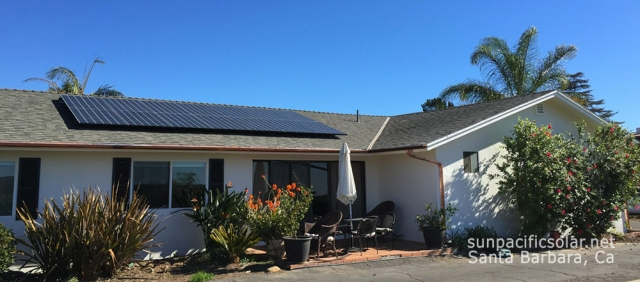 Small SunPower array on comp shingle roof in Santa Barbara.