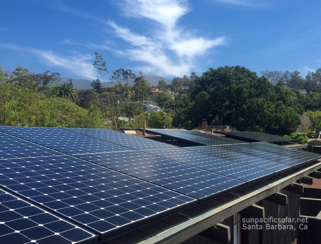 SunPower installation taking into account vents on a comp shingle roof, in Santa Barbara.