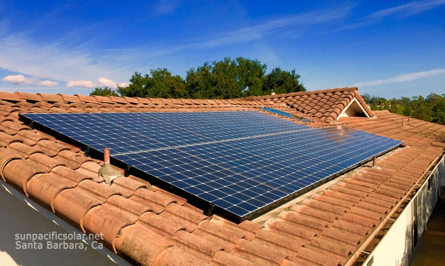 5.1kW SunPower array in Santa Barbara. Our crew works with roofers to make sure the installation is waterproof, flush with the tile roof, and aesthetically pleasing.