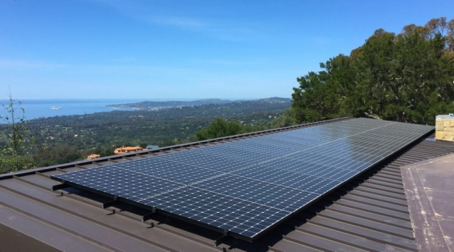 Sun Pacific Solar SunPower  residential array on standing seam roof in Montecito California. Local solar electrical contractors. Commercial, agricultural, residential. Solar Energy, Solar Power, Solar Panels, Solar Electric, Photovoltaic, Renewable Energy, Clean Energy, Green Energy, Solar Installation, Sustainable Energy, Sustainability, Alternative Energy, Energy, Energy Management, Energy Conservation, Solar PV, Sustainable Development, Solar Thermal, Energy Efficiency, Wind, Green Building, Clean Technology, Clean Tech, Energy Audits, Cleantech, Custom installations, comp roof solar installations, tile roof solar installations, flat roof solar installations, flat membrane roof solar installations, solar panel installations, standing seam metal roof solar installations, inverters, battery backup, pole mount solar installations, well pumps, ground mount solar installations, grid-tied solar, off-grid solar, grid tied solar, off grid solar, agricultural pumping, Hollister Ranch, Pismo Beach Santa Barbara, Ojai, Hope Ranch, San Luis Obispo, Ventura, Santa Ynez, Gaviota, Goleta, Montecito, Santa Barbara County, Tri-County area, Tri-County, Southern California, Carpinteria, Summerland, Buellton, Padaro Lane, Santa Maria, Lompoc