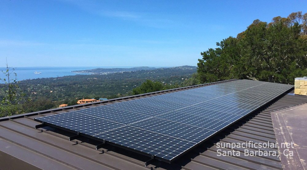 A grid-tied solar installation on a home with a standing seam roof in Montecito, CA.