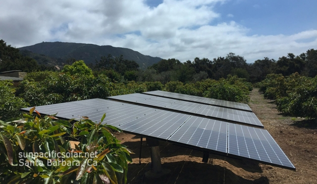 10.3kW SunPower array on pole mounts in Carpinteria, California.