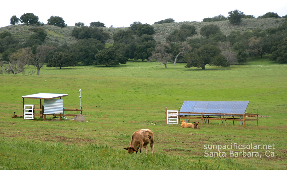Off-grid solar powered well pump installation in Santa Ynez Valley.