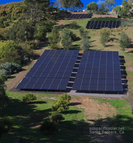 101.43kW SunPower ground mount arrays (bottom) and pool heating arrays by Mike McRae (top- http://www.macsolar.com) in Summerland, California.