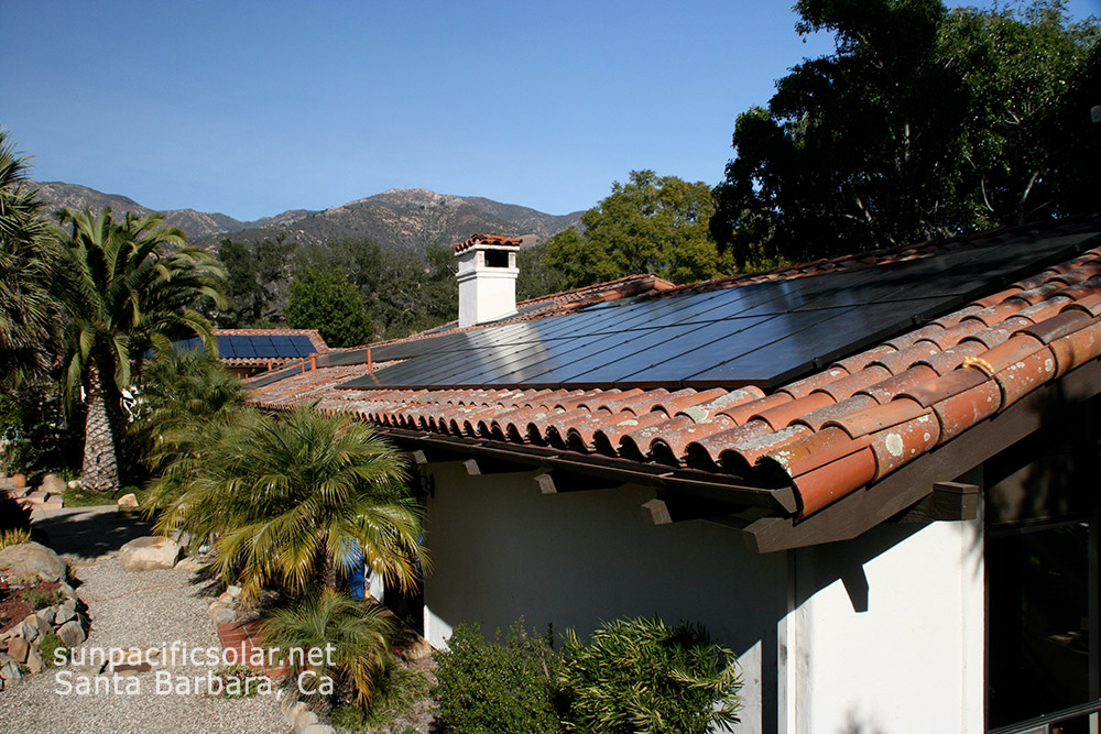 One of Sun Pacific Solar Electric's tile roof solar installations in Santa Barbara, California.
