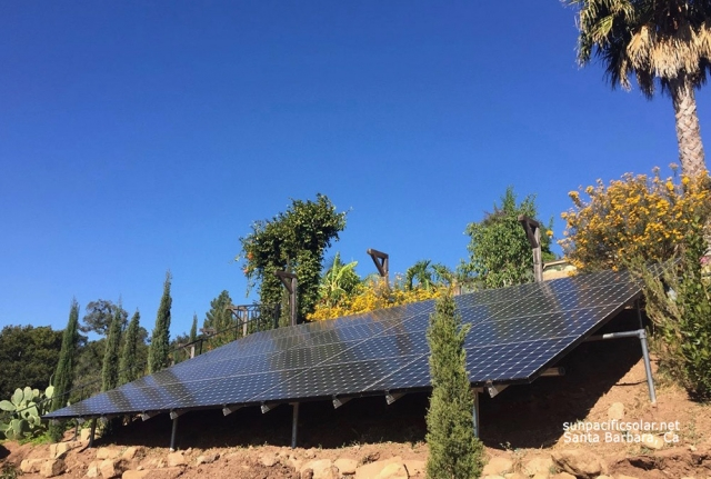 18.7kW ground mounted solar system using 52 360kW SunPower panels in Montecito, California.
