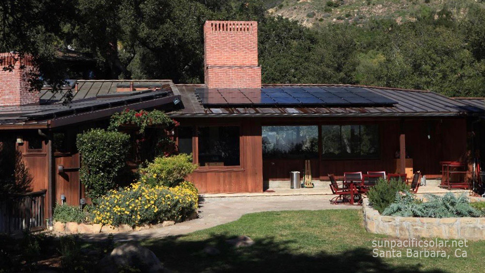 Copper roof solar installation with all black SunPower panels in Montecito, California.