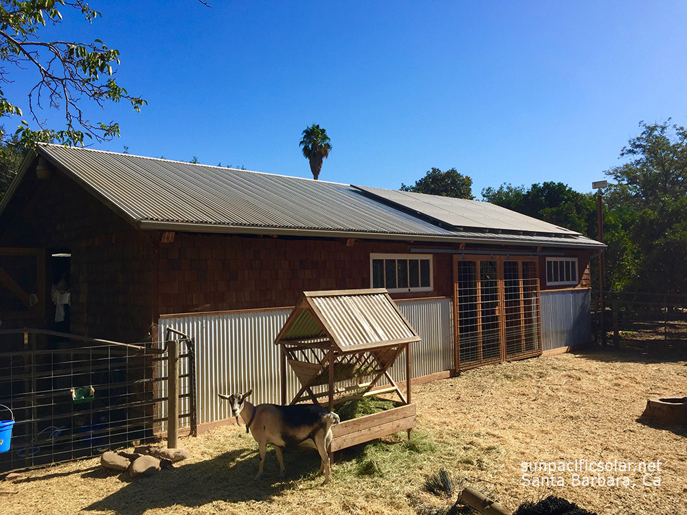 Grid-tied solar with battery backup for a farm and home in Ojai, California.
