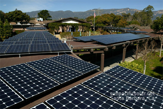 Solar installation over a covered walkway at Valle Verde retirement home Santa Barbara.