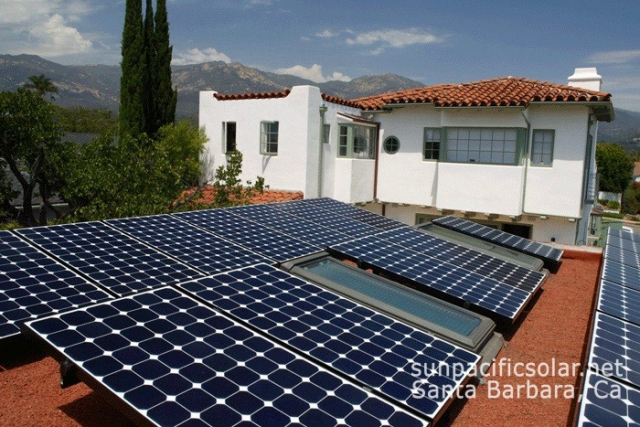 SunPower panels on a flat roof with skylights in Santa Barbara.