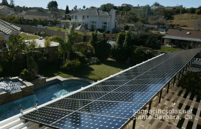 Solar electric array on trellis in Hope Ranch. If you'd like to heat your home water system or pool using solar, contact Mike McRae at http://www.macsolar.com/index.html