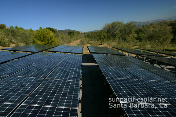 Agricultural solar array for a small vineyard in Summerland, California.