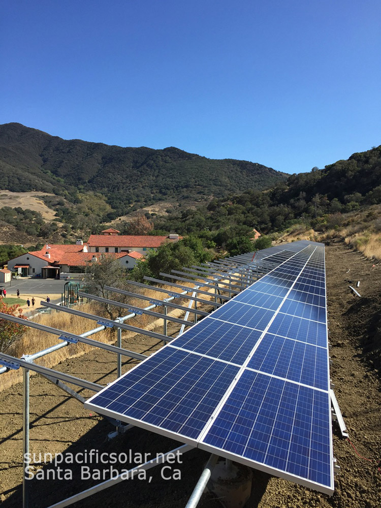 57kW array under construction at Vista Del Mar School in Gaviota, California.