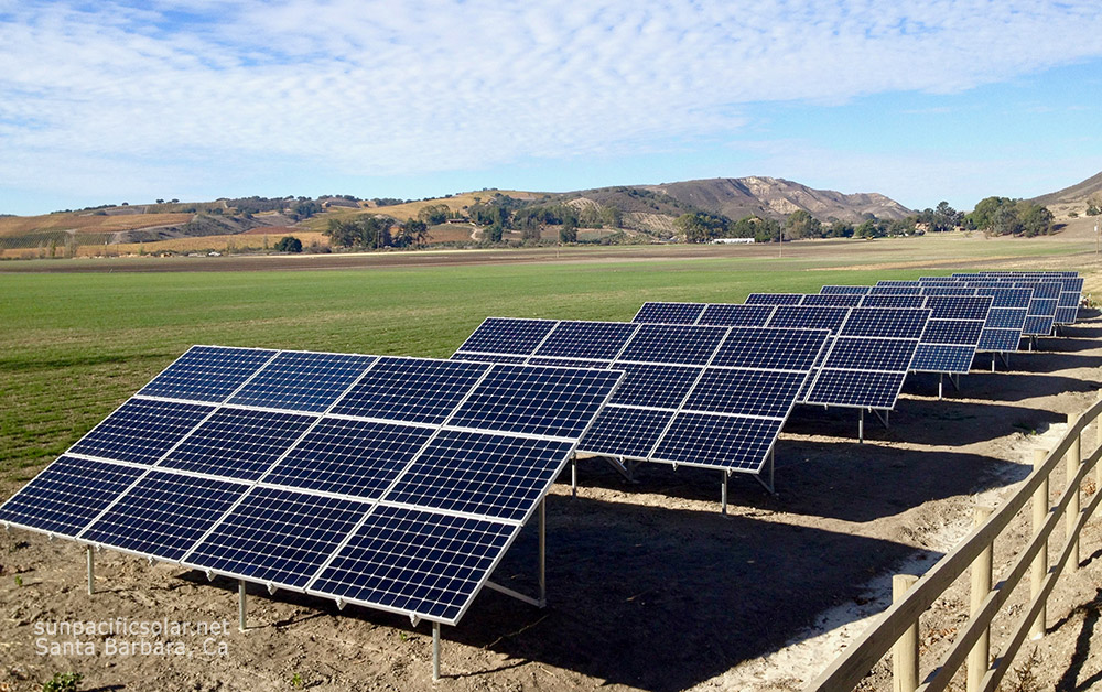 An agricultural grid-tied array for a large flower growing operation in Los Alamos, California.
