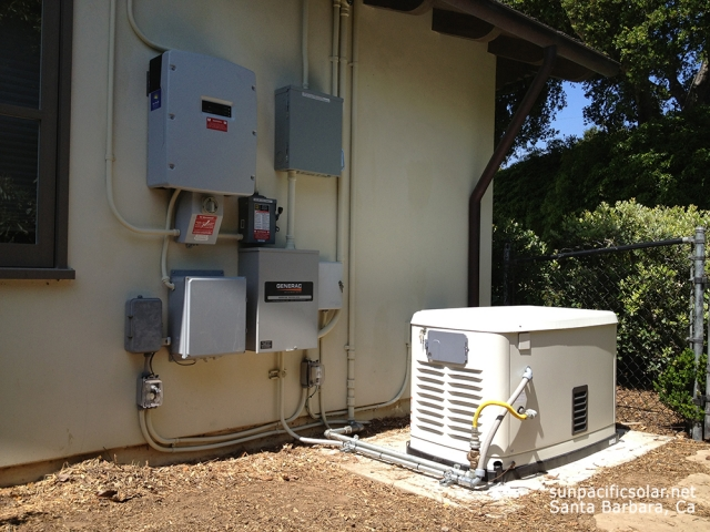 A natural gas Generac generator for whole home backup power in San Luis Obispo county.