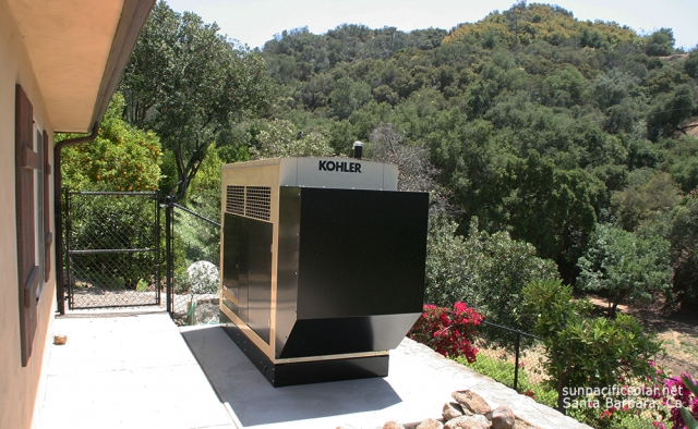A large Natural Gas generator complimenting a emergency battery backup system for a house and guest house in Ojai, California.