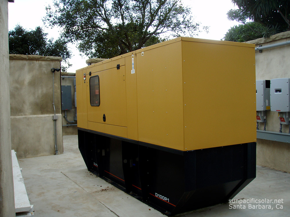 A natural gas generator providing backup power to an entire home in Summerland, California.