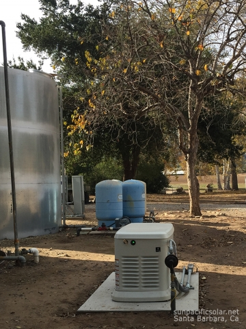 A propane Generac generator providing a whole house backup power in Ojai, California.