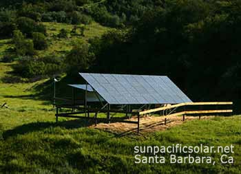 Solar panels to  power an off-grid well in a remote location in Santa Ynez Valley.