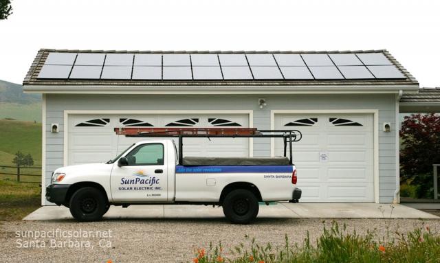 6kW of SunPower panels on a garage roof in Santa Ynez.