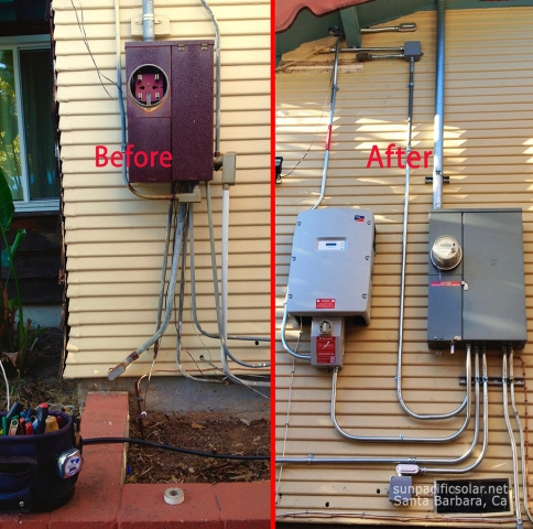 Before and after with a new electric service and solar inverter.