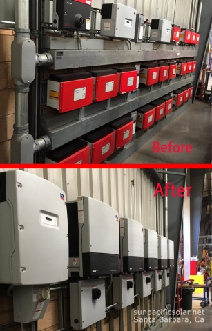 Before and after inverter upgrade for a 70kW solar array.