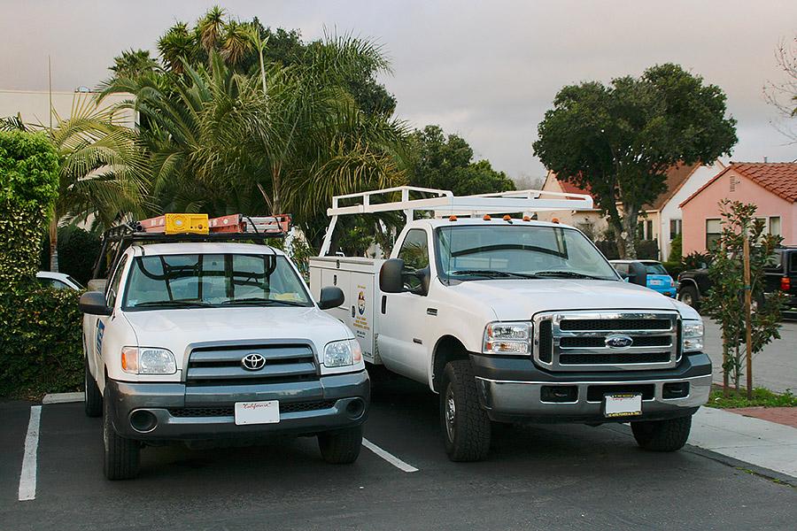 Sun Pacific Solar work trucks.