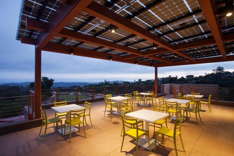Lumos solar panels installed above the patio at the Santa Barbara Botanical Gardens.