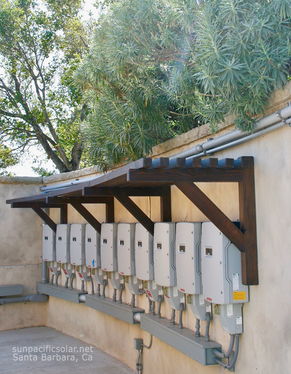 Some of the SMA SunyBoy solar inverters for a 101.43kW system in Summerland, California.