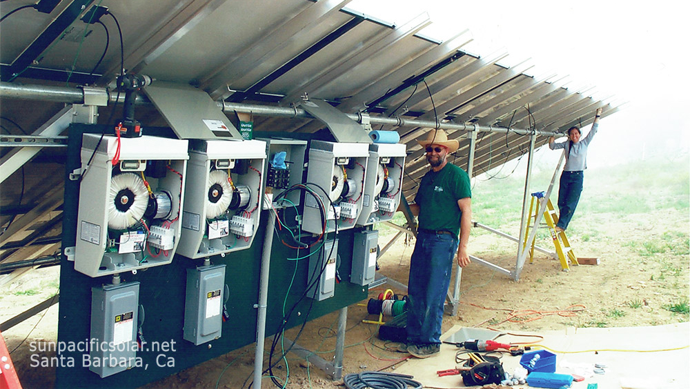 Jay and Cecilia Johnson on one of their early installations in 2005 before founding Sun Pacific Solar and becoming solar contractors in Santa Barbara.