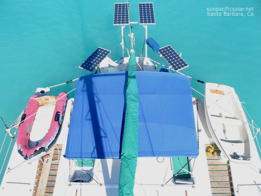 A solar panel installation on a recreational boat in Santa Barbara.