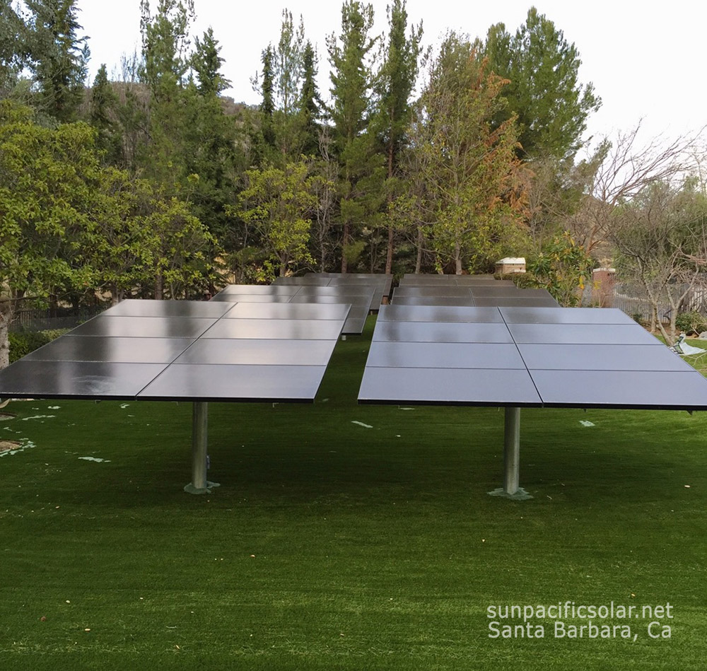 A residential ground mounted solar installation in Santa Barbara, California. How to clean your solar panels